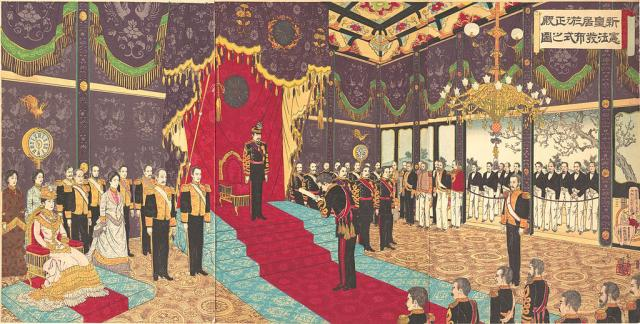 Adachi_Ginkō_(1889)_View_of_the_Issuance_of_the_State_Constitution_in_the_State_Chamber_of_the_New_Imperial_Palace_(cropped_and_rotated).jpg