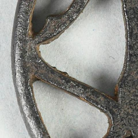 Japanese iron tsuba, leaf design_part.jpg