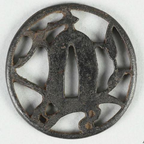 Japanese iron tsuba, leaf design.jpg